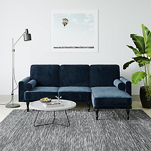 Atwater Living Edison Small Space Sectional Futon, Blue, rollover