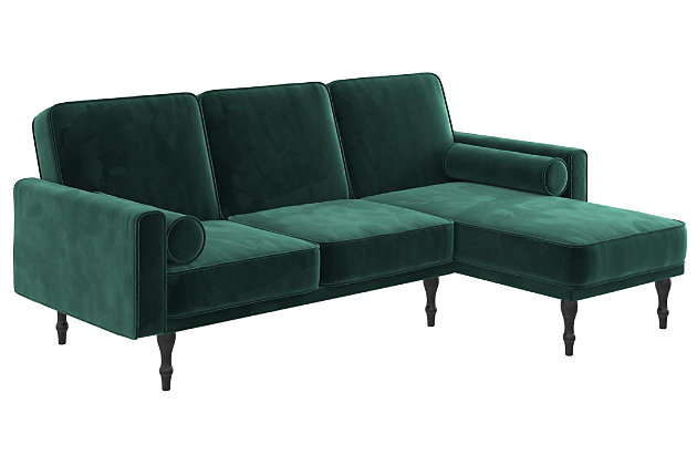 Atwater Living Edison Small Space Sectional Futon, Green, large