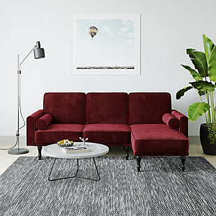 Atwater Living Edison Small Space Sectional Futon, Burgundy, large