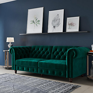 Atwater Living Fitz Sofa Futon, Green, rollover