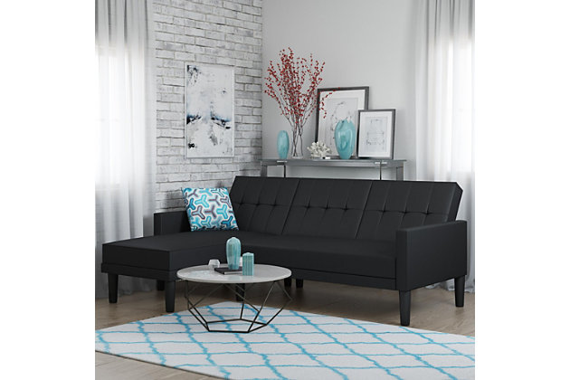 Atwater Living Henri Small Space Sectional Futon Black Faux Leather, Black, large