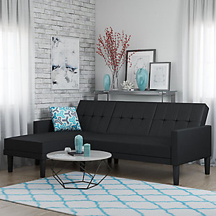Atwater Living Henri Small Space Sectional Futon Black Faux Leather, Black, rollover
