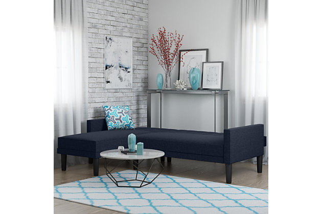 Atwater Living Henri Small Space Sectional Futon Blue Linen, Blue, large