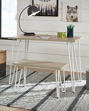 Blariden Desk with Bench, Brown/White, rollover