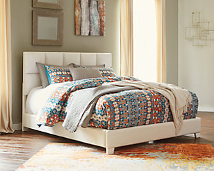 Monaka Queen Upholstered Bed, White, rollover