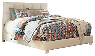 Monaka Queen Upholstered Bed, White, large