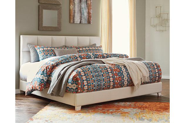 Monaka King Upholstered Bed, White, large