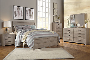 Culverbach Queen Panel Bed with Mirrored Dresser, Gray, large