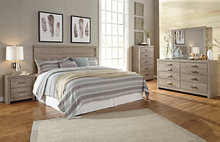 Culverbach King Panel Headboard Bed with Mirrored Dresser and 2 Nightstands, Gray, large