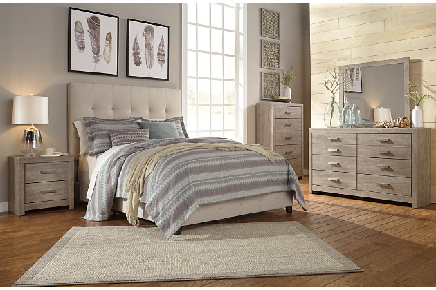 Beige Dolante Queen Upholstered Bed View 6