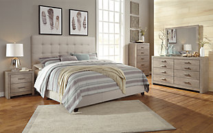Dolante King Upholstered Bed, Beige, large