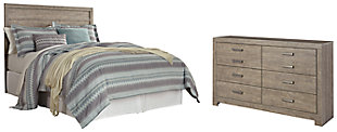 Culverbach Queen/Full Panel Headboard Bed with Dresser, Gray, large