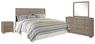 Culverbach King Panel Headboard Bed with Mirrored Dresser and 2 Nightstands, Gray, rollover