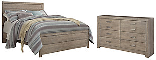 Culverbach Queen Panel Bed with Dresser, Gray, rollover