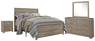 Culverbach Queen Panel Bed with Mirrored Dresser and 2 Nightstands, Gray, rollover