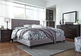 Dolante King Upholstered Bed, Gray, large