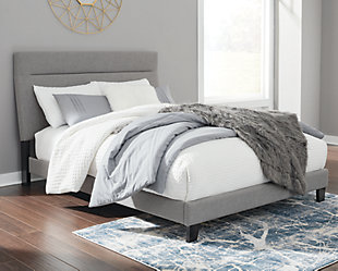 Adelloni Queen Upholstered Bed, Gray, rollover