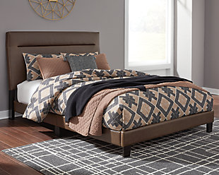 Adelloni Queen Upholstered Bed, Brown, rollover