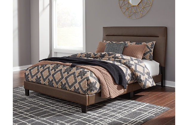 Adelloni Queen Upholstered Bed, Brown, large