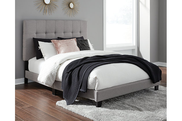 Adelloni Queen Upholstered Bed, Gray, large