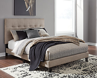 Adelloni Queen Upholstered Bed, Light Brown, rollover