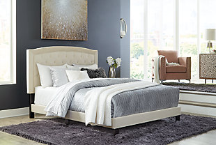 Adelloni Queen Upholstered Bed, Cream, rollover