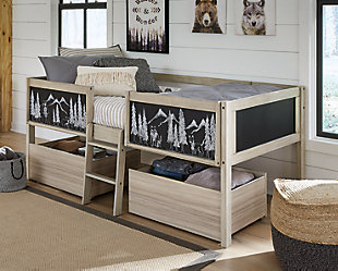 Wrenalyn Twin Loft Bed with Under Bed Bin Storage, , large