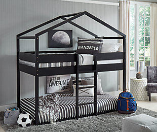 Flannibrook Twin over Twin House Loft Bed, Black, rollover