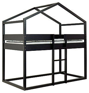 Flannibrook Twin over Twin House Loft Bed, Black, large