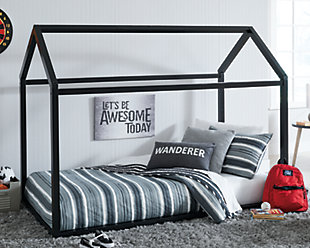 Flannibrook Twin House Bed Frame, Black, rollover