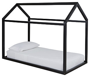 Flannibrook Twin House Bed Frame, Black, large