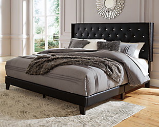 Vintasso Queen Upholstered Bed, Black, rollover