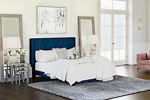 Vintasso Queen Upholstered Bed, Blue, rollover