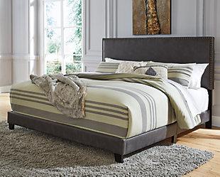 Vintasso Queen Upholstered Bed, Grayish Brown, rollover