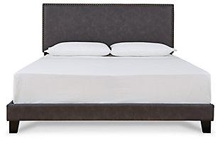 Vintasso Queen Upholstered Bed, Grayish Brown, large