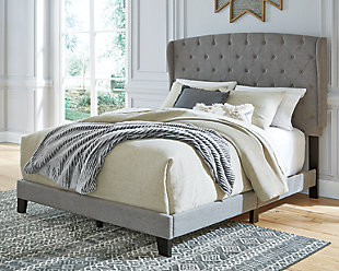 Vintasso Queen Upholstered Bed, Gray, rollover