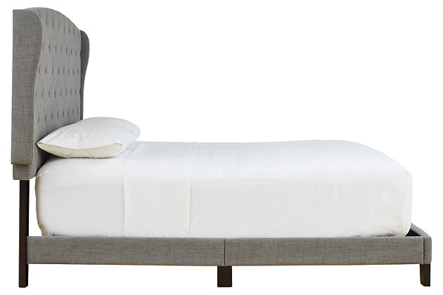 Vintasso Queen Upholstered Bed, Gray, large