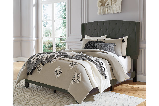 Vintasso Queen Upholstered Bed, Charcoal, large