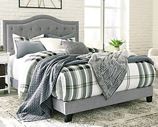 Jerary Queen Upholstered Bed, Gray, rollover