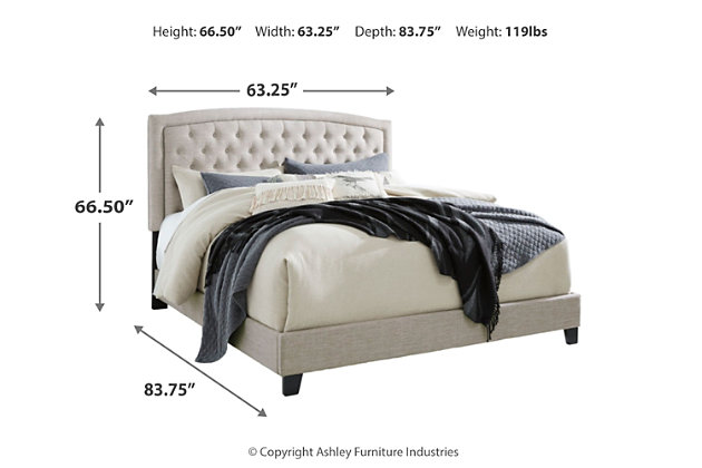 Jerary Queen Upholstered Bed, Gray, large