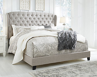 Jerary King Upholstered Bed, Gray, rollover