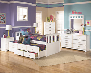Lulu Twin Trundle Bed, White, large