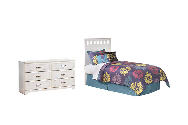 Lulu Full Panel Headboard Bed with Dresser, White, large