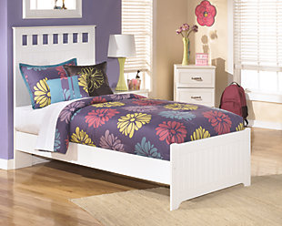 Lulu Twin Panel Bed, White, large