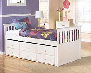 Lulu Twin Trundle Bed, White, rollover