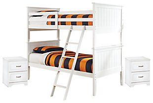 Lulu Twin over Twin Bunk Bed with 2 Nightstands, , large