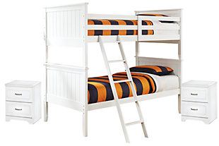 Lulu Twin Bunk Bed With 2 Nightstands, White / Silver Accent, ...