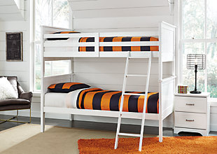 Lulu Twin Bunk Bed with 2 Nightstands, White / Silver Accent, rollover