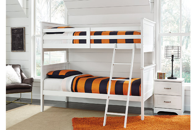 Lulu Twin Bunk Bedroom with Nightstand, White, large