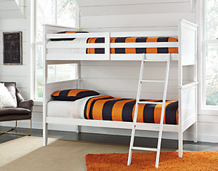 Lulu 3-Piece Twin over Twin Bunk Bed, White, rollover